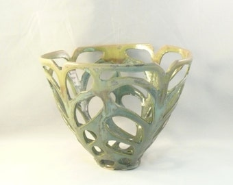 Artistic Ceramic Hand Carved Green Vase, Fall Wedding Decor, Art Object  Vessel in Lichen Glaze Ceramic Sculpture Office Decor or Home Decor