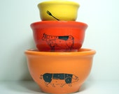 NESTING mixing bowl set for the Carnivore, glazed Creamsicle Orange, Clementine & Lemon Butter, already made.