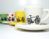 Tour de France. Espresso cups with saucers, set of 4.