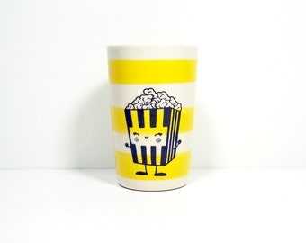 itty bitty cylinder striped yellow with a happy popcorn guy, made to order / pick your colour