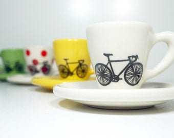 Tour de France. Never Dull & Always Awesome Espresso Cups with Saucers, set of 4. Made to Order.