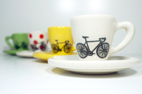 Tour de France. Espresso cups with saucers, set of 4. Made to Order.
