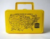 Vintage Toy - United States of America Map - Yellow Lunch Box - Pencil Case - Burger King - Toy - Purse - Plastic