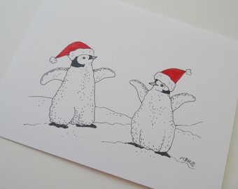 Baby Penguin Christmas Holiday Cards, Penguin Christmas Card Set, Cute Penguin Holiday Cards, Set of 6