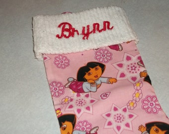 LAST 1! Pink Dora the Explorer and Chenille Handmade Christmas Stocking with FREE U S SHIPPING