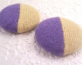 Yellow/purple color block buttons , cashmere covered buttons, 1 7/8 inches