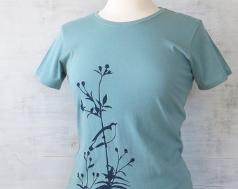Womens Graphic Tee - Organic Cotton T Shirt - Turquoise Blue T Shirt - Bird on Flower T Shirt Art- Womens Tee Shirt- Organic Cotton Clothing