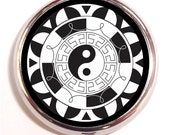 Yin Yang Mandala Pill Box Case Pillbox Carl Jung Spiritual Symbol Taoism Sacred Geometry Hippie Black and White