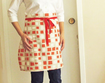 Apron - red squares on natural linen
