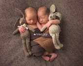 Knit Bunny Rabbit Toy NeWBoRN BaBY PHoTO PRoP Floppy Ear Bunny SHaBBY CHiC Kids Small STuFFeD ANiMaL Toddler Soft Toy Beige Brown Grey Tweed