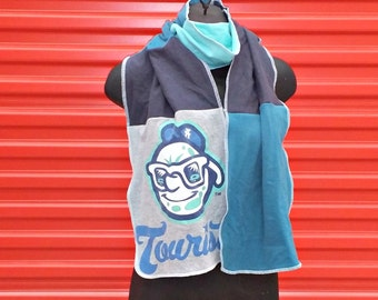 Asheville Tourists Scarf . Unisex . Mens . Womens . Winter Scarf . Cotton . Recycled Clothing . Eco Friendly . NC . Baseball