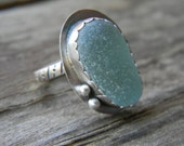 Sea Glass Ring - Lovely Seafoam Aqua English sea glass - size 7 - sterling silver