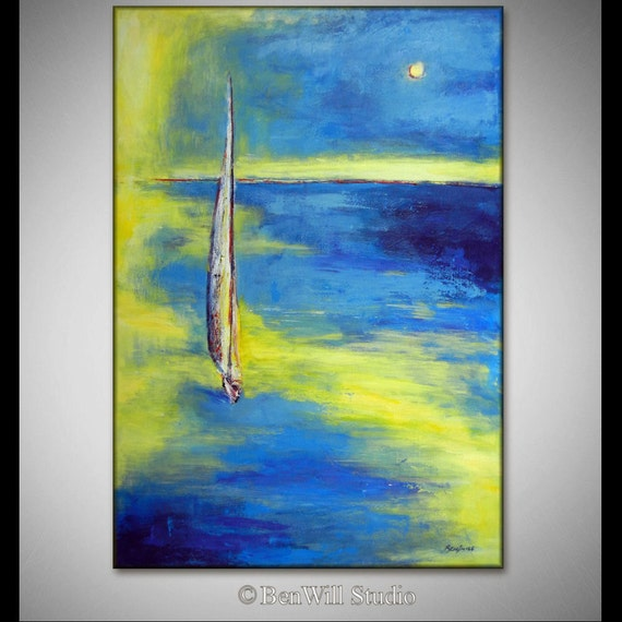 ORIGINAL Abstract SEASCAPE Painting Large Impressionist Sailing Art, SAILBOAT Ocean Oil Painting 40x28 by BenWill