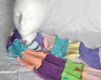 Upcycled soft sweater scarf, OOAK