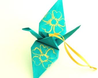 Large Gold Cherry Blossoms on Aqua Origami Crane Ornament Home Decor