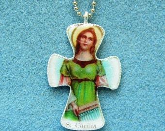St. Cecilia Handmade Catholic Resin Cross Crucifix Necklace Pendant