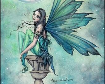 Winter Dream - Moon Fairy Fantasy Art by Molly Harrison - Fine Art Giclee Print 9 x 12