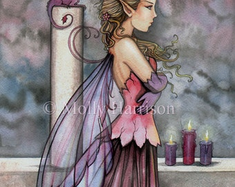 Quiet Thoughts - Fairy and Dragon Fine Art Giclee Print by Molly Harrison Fantasy ARt