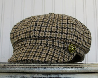 Womens Newsboy Hat - Womens Hat - Wool Newsboy Cap  -Taupe, green, black plaid-  M -Juliet
