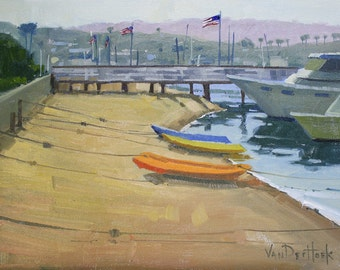 All Tied Up - 11 x 14 Inch Original Oil Painting of Boats on the Water - Boat Painting - Sailboat Painting - Yacht Art