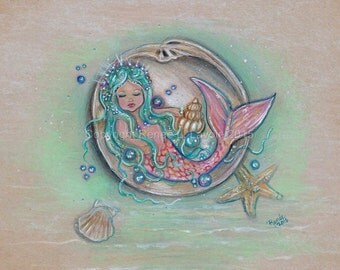 open edition aceo trading card mermaid little girl 2.5x3.5 inches by renee