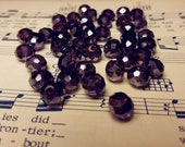 Glass Beads - 42 pcs - Purple - Purple  Luster - Faceted Beads - 8mm x 6mm - Rondelles
