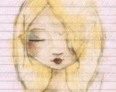 Print of my digitally enhanced sketch - Sketchbook Girl 10.1.14