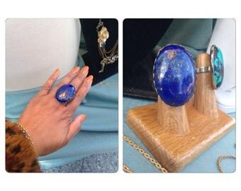 Lapis Lazuli Oval Stone Ring - Adjustable brass Ring Sizes 5-8.5 - oversized ring Studio La Touche - Big and Bold Jewelry Ring
