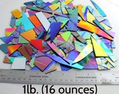 Dichroic Glass Scrap-FREE SHIPPING - 1 lb  CBS 90 coe Black Thin Smooth - Patterns & Solid Colors - Perfect for Jewelry and Mosaics