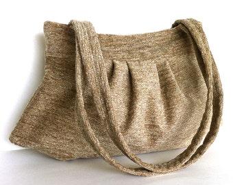 Purse , chenille handbag , khaki bag , vegan handbag , fabric purse , shoulder bag , day bag , women handmade handbag, fabric bag