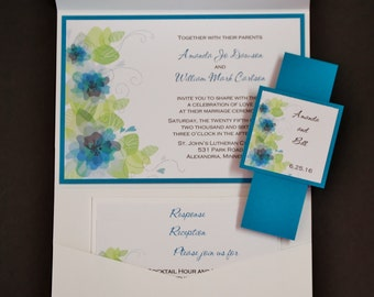 Floral Whimsy in Teal, pocketfold wedding invitation suite, sample set