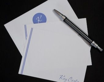 Double Line, personalized flat cards, set of 12, stationery set