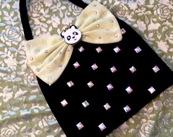 Black Velvet Panda Vintage Purse