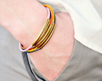 Leather Cord and Multi Tube Bangle Wrap Bracelet No.1