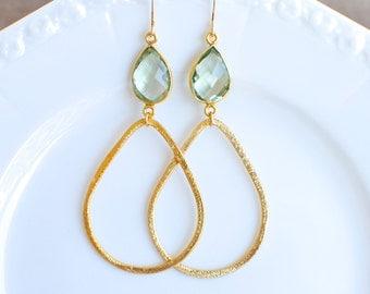 Celadon Quartz with Brushed Gold Teardrop. Bridesmaids Earrings.