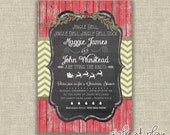 Christmas Bridal Shower Invitation Holiday Chalkboard Burlap Wood Rustic Digital -  by girls at play Etsy girlsatplay