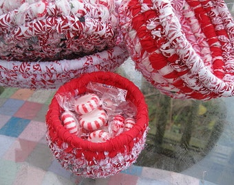JUNIOR MINT SERIES Peppermint red and white hand coiled basket bowl  Number Four