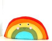 Medium Plush Rainbow Pillow - for Nursery or Kids Room Decor - Kawaii Plush Softie