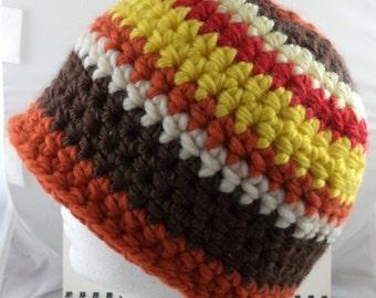 Crocheted Beanie in Autumn Colors Acrylic-Wool Blend (medium) (SWG-HBEN-M03)
