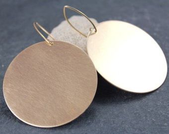 EXTRA LARGE Disc earrings,over-sized, oversize, yellow gold, 14k, circle,round,modern, sterling silver