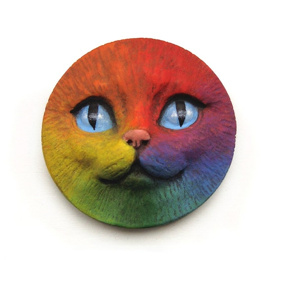 Rainbow Cat Face Cab 40mm Round Kitty Kitten Animal Pet Bright Colorful Polymer Clay Cabochon roygbiv Red Yellow Orange Blue Purple 3350