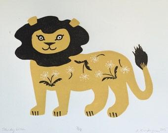 Dandy Lion original block print