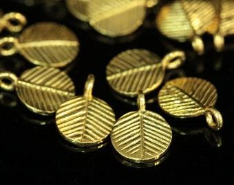 KG-046 thai karen hill tribe handmade silver 4 gold vermeil leaf charm