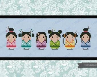 Cute little geishas - PDF cross stich pattern
