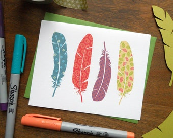 Feathers Everyday Colorful Card: Single Card or Boxed Set