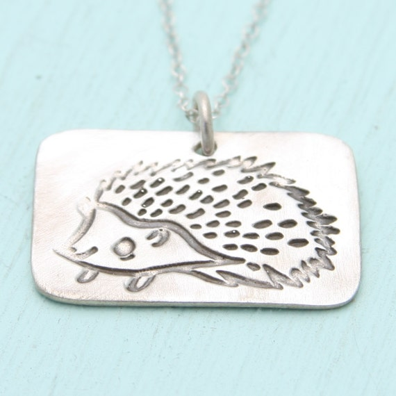 HEDGEHOG necklace, eco-friendly silver. Artwork by  BOYGIRLPARTY.  Handcrafted by Chocolate and Steel