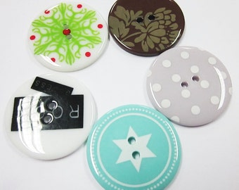 ON SALES 2-hole Jumbo Buttons - 10 pcs SET D