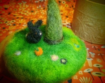 Ready to Ship,  Bunny World In a Box, Waldorf Needle-felted Toy