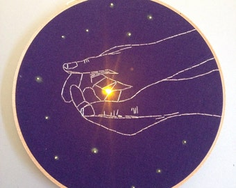 Firefly - hand drawn and embroidered lightning bug wall hanging / hoop art with a flickering LED