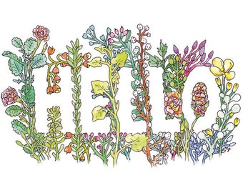 Greeting Card | Hello in Flowers Illustration by Marie Gardeski